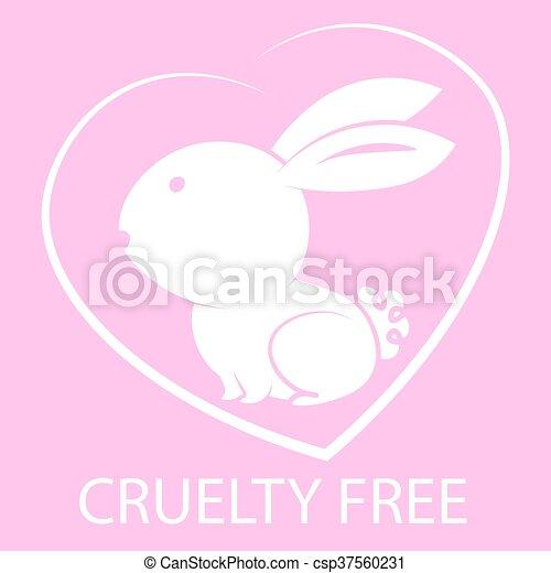 Animal crueldad libre de diseño de iconos. Diseño de símbolos libres de crueldad animal. Producto no probado en signo de animales con conejo rosa. Ilustración de vectores. - csp37560231