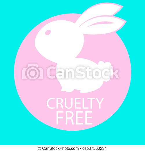 Animal crueldad libre de diseño de iconos. Diseño de símbolos libres de crueldad animal. Producto no probado en signo de animales con conejo rosa. Ilustración de vectores. Trasfondo turquesa - csp37560234