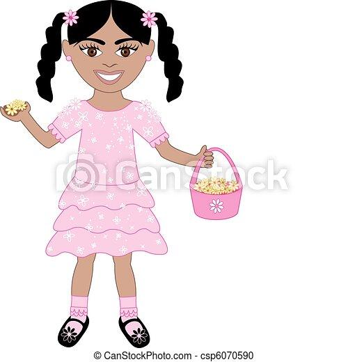 rosa, ragazza, vestito fiore - csp6070590