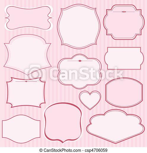 rosa, rahmen, satz, vektor - csp4706059