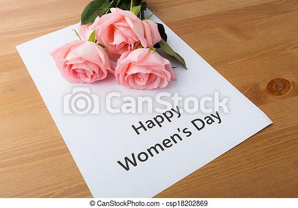rosa, ramo, rosas, mensaje, feliz, día, mujeres - csp18202869