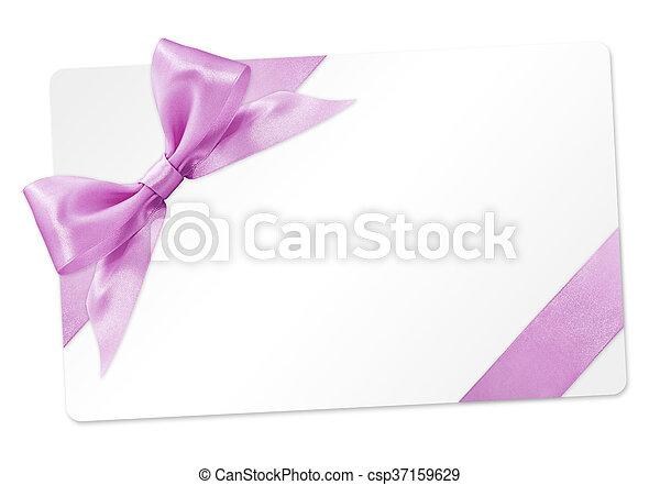 rosa, regalo, isolato, arco, nastro, fondo, bianco, scheda - csp37159629