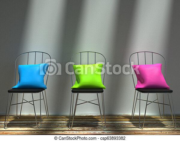 rosa, riposare, blu, cuscini, sedie, verde, elegante - csp63893382