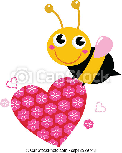 rosa, söt, älska hjärta, flygning, isolerat, bi, vit - csp12929743