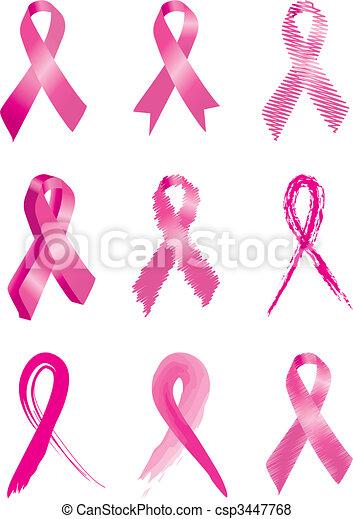 rosa, satz, krebs, brust, 9, bänder - csp3447768