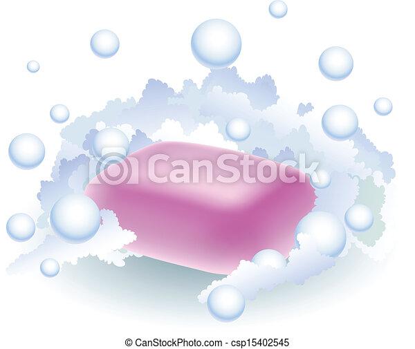 rosa, schiuma, sapone - csp15402545