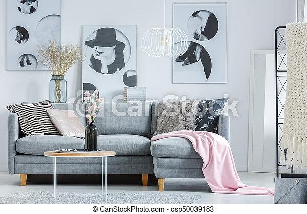 Rosa, Sofa, Decke, Grau   Csp50039183