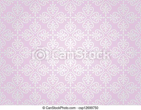 rosa, tapet, silver, & - csp12699750