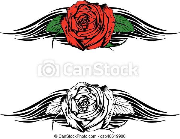 Tatuagem Chamas Rosa Tribal Ilustracao T Shirt Vetorial