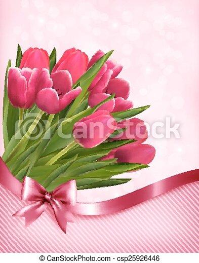 rosa, tulips, bello, vector., fondo. - csp25926446
