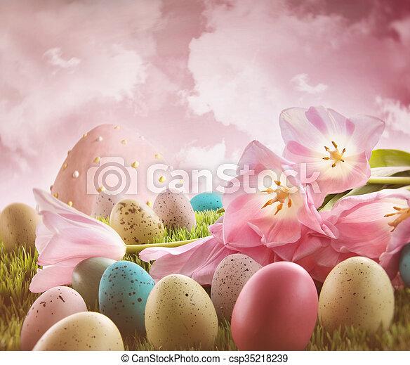 rosa, tulpen, eier, gras - csp35218239
