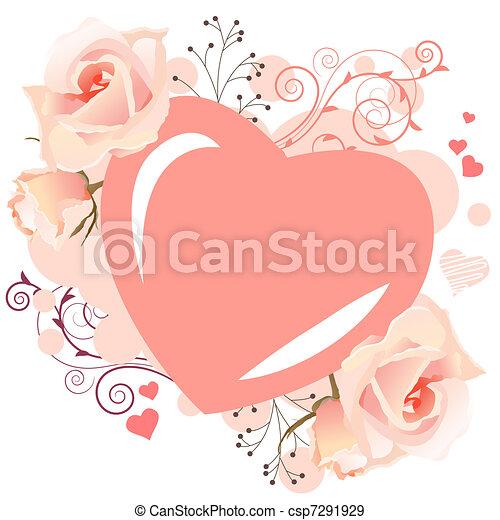 rosa, turbini, cuoriforme, cornice, rose, delicato - csp7291929