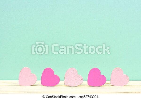rosa, turquesa, de madera, contra, plano de fondo, corazones - csp53743994