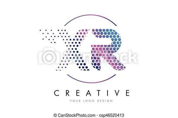 Rosa, vector, punteado, r, diseño, letra x, xr, logotipo, magenta ...