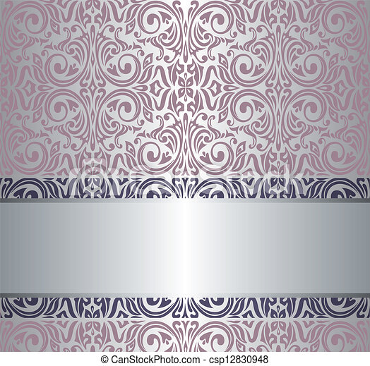 Rosa vendimia papel pintado plata y - Papel pintado color plata ...