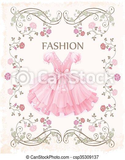 Una etiqueta antigua con vestido rosa - csp35309137