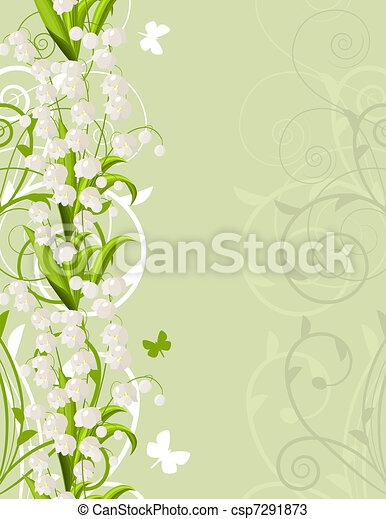 Un fondo verde rosado con tulipanes y flores - csp7291873