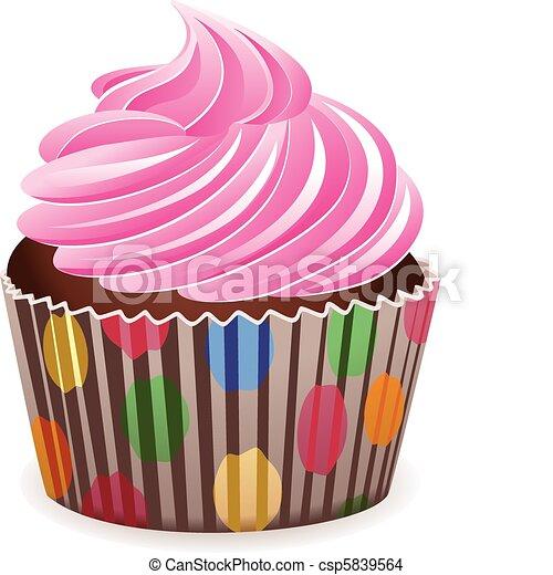 rosa, vettore, cupcake - csp5839564