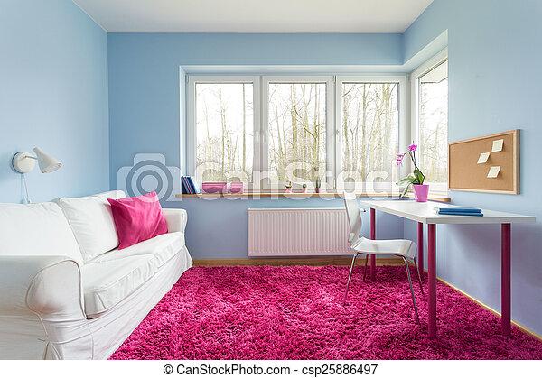 rosa, weich, teppich - csp25886497