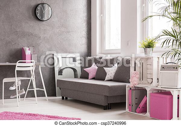 Rosa, Wohnzimmer, Grau   Csp37240996