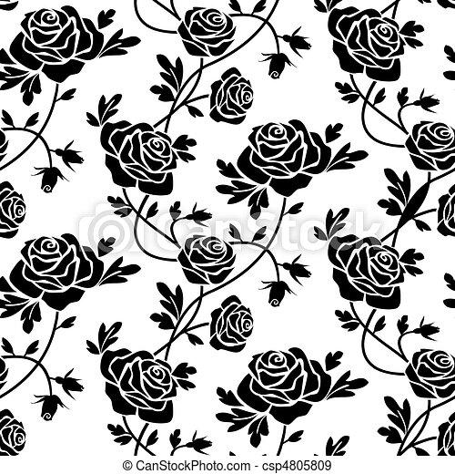 Rosas Blanco Negro Romántico Seamless Patrón Rosas Plano De