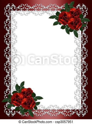 rosas, casório, borda, vermelho, convite - csp3057951