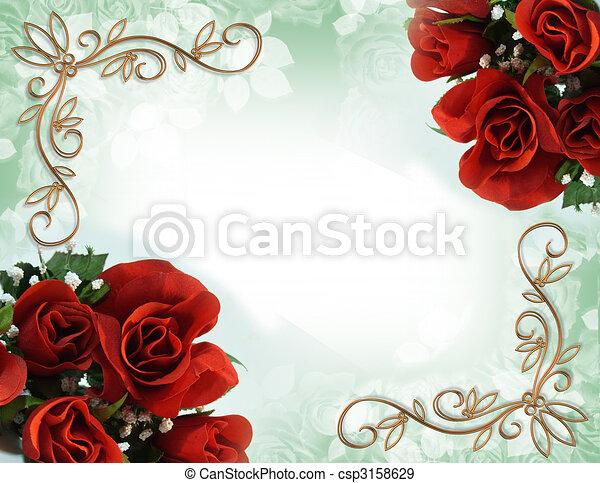 rosas, casório, borda, vermelho, convite - csp3158629