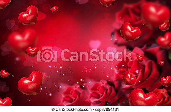 rosas corazones fondo rojo valentine csp37894181