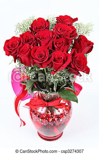 rosas, día de valentines, rojo, florero - csp3274307