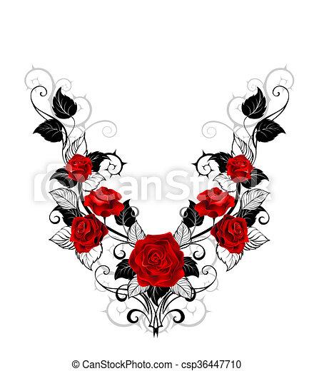 Rosas Desenho Vermelho Tatuagem Rosas Padrao Folhas