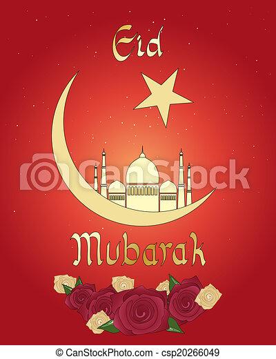 Tarjeta de Eid con rosas - csp20266049