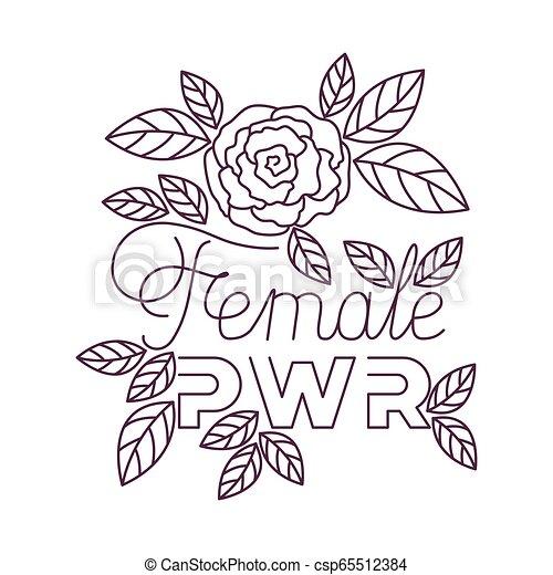 Etiqueta de poder femenina con iconos de rosas - csp65512384