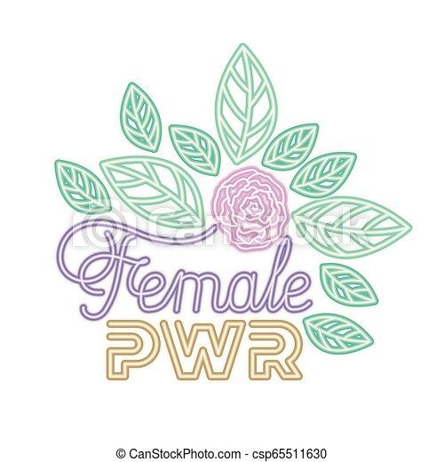 Etiqueta de poder femenina con iconos de rosas - csp65511630