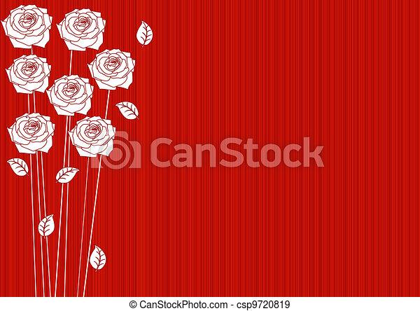 Abstraer el fondo rojo con rosas - csp9720819