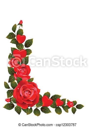 Grfico vectorial de rosas rojo  Red rosas y hojas formativo