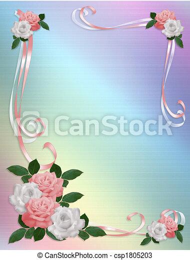rosas rosa, plantilla, boda, blanco, frontera - csp1805203