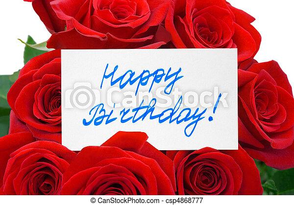 Rosas y tarjeta feliz cumpleaños - csp4868777