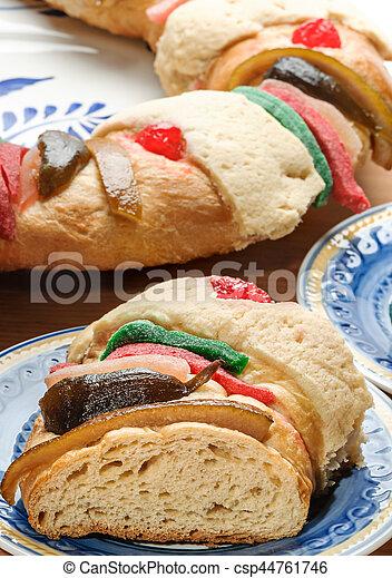 roscon, rosca, de, bolo, epifania, reis, reyes, ou - csp44761746