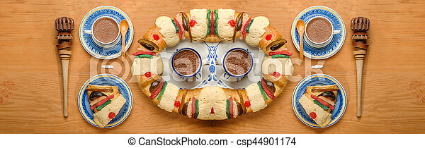 roscon, rosca, de, bolo, epifania, reis, reyes, ou - csp44901174