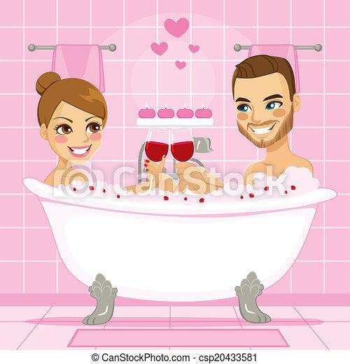 rose amour couple bain moussant rose toast appr cier vecteur search clip art. Black Bedroom Furniture Sets. Home Design Ideas