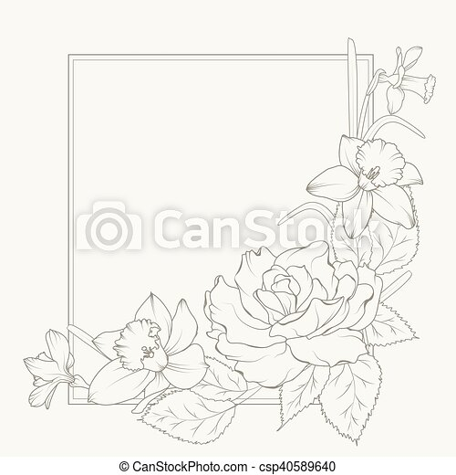 Rose and narcissus flowers frame design element. Rose and narcissus ...