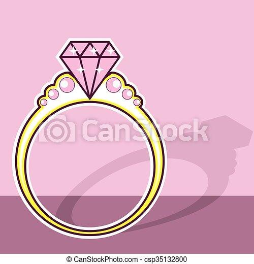 rose, anneau, diamant - csp35132800