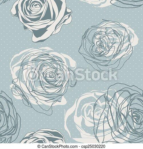 rose, arrière-plan., vecteur, vendange, retro., style. - csp25030220