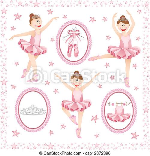 rose, ballerine, collage, numérique - csp12872396