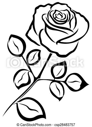 rose black outline black vector outline of single rose clipart rh canstockphoto com sunflower clipart outline flower outline clipart free