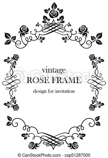 Rose black vintage frame. Ornamental frame with roses. solemn floral ...