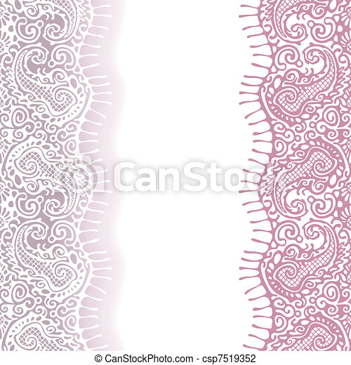 rose, blanc, dentelle, ruban, seamless - csp7519352