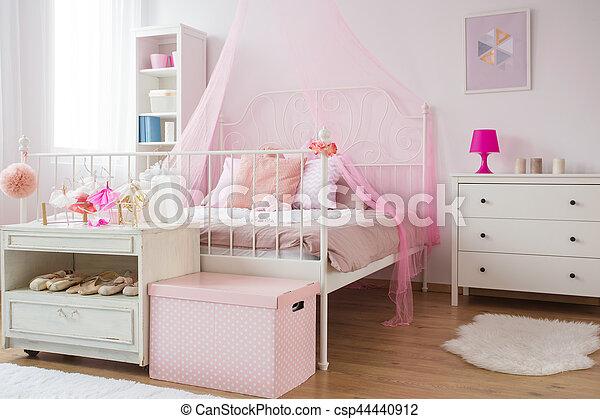 rose, blanc, princesse, chambre à coucher
