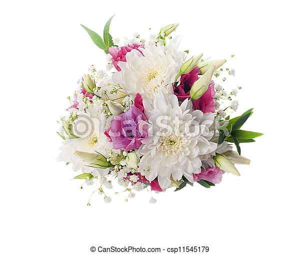 rose, bouquet, nuptial, fleurs, blanc - csp11545179