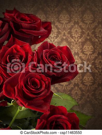 rose, bouquet., vendemmia, rosso, disegnato - csp11463550